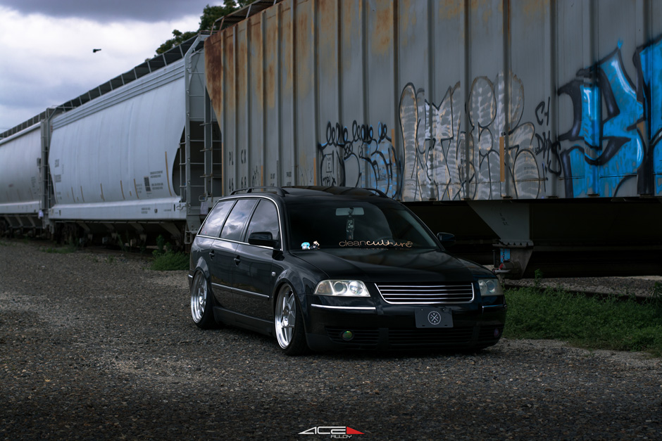 Bagged VW Passat on Silver ACE Alloy SL-5 Aftermarket Wheels