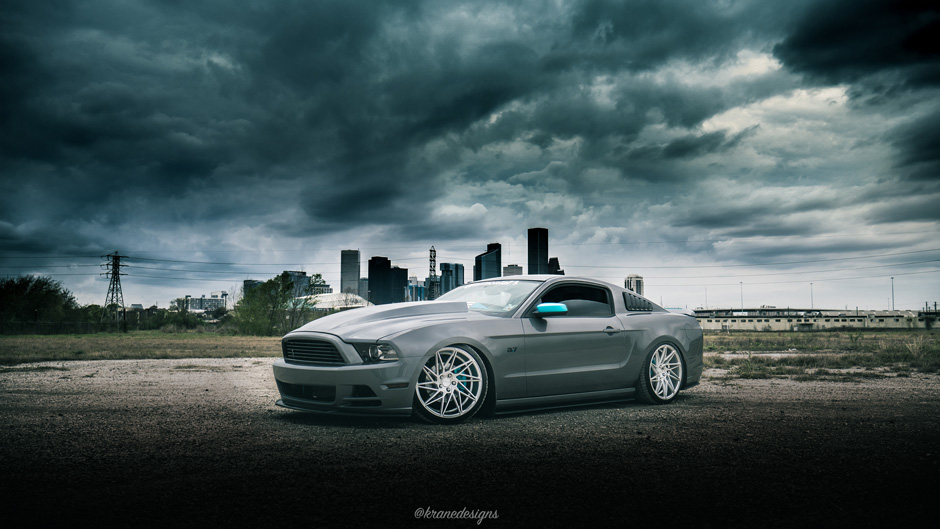 "ACE 20"" Driven Silver w/ Machine Face Aftermarket Wheels on Bagged Ford Mustang"