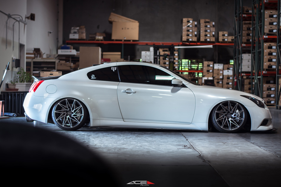 Infiniti G37 Coupe Bagged on ACE Alloy Wheel Driven D716 Aftermarket Wheels