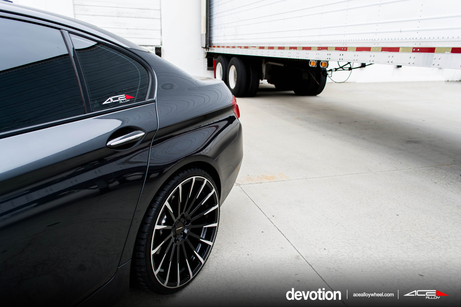 "ACE 22"" Devotion D718 Gloss Black Machined Face BMW 5 Series Aftermarket Wheels"