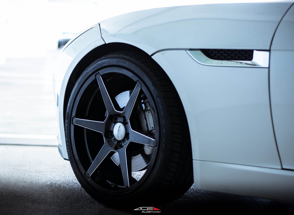 "Jaguar F Type on ACE Alloy Flowform AFF06 V006 Gloss Black Milled 20"" Aftermarket Rims and Wheels"