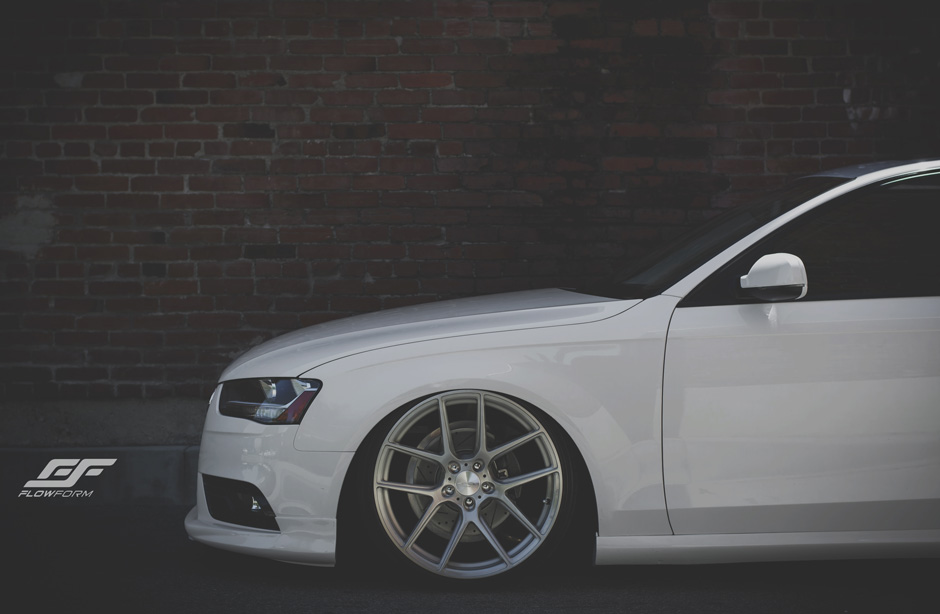 "ACE Flowform 20"" AFF02 V002 Brushed Clear Audi A4 Sedan Bagged Aftermarket Wheels"