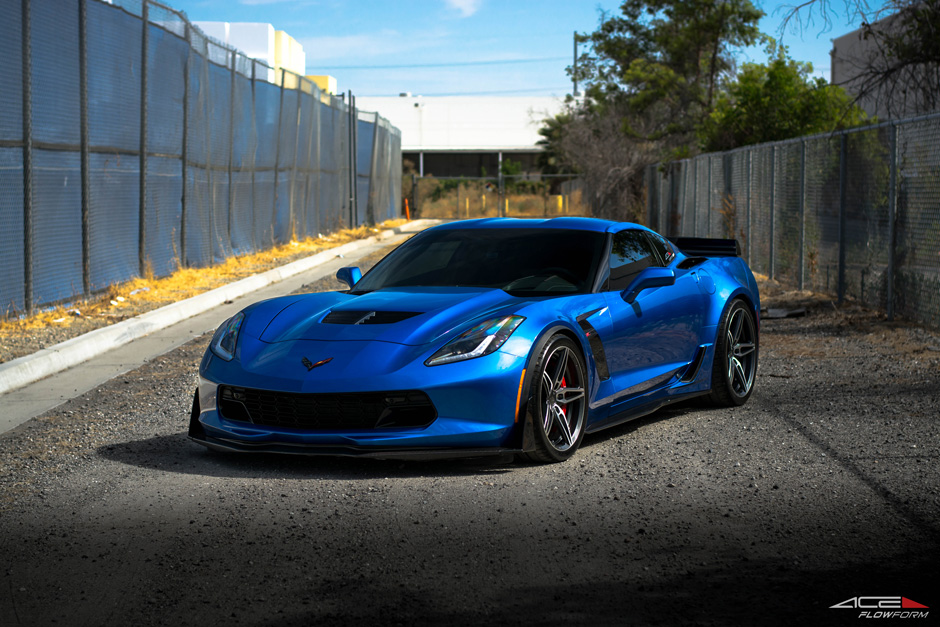 2015 Chevrolet Corvette C7 Z06 Lowered on ACE Alloy Flowform AFF02 V002 Mica Gray Brushed Face 19 20 inch Staggered Wheels Rims