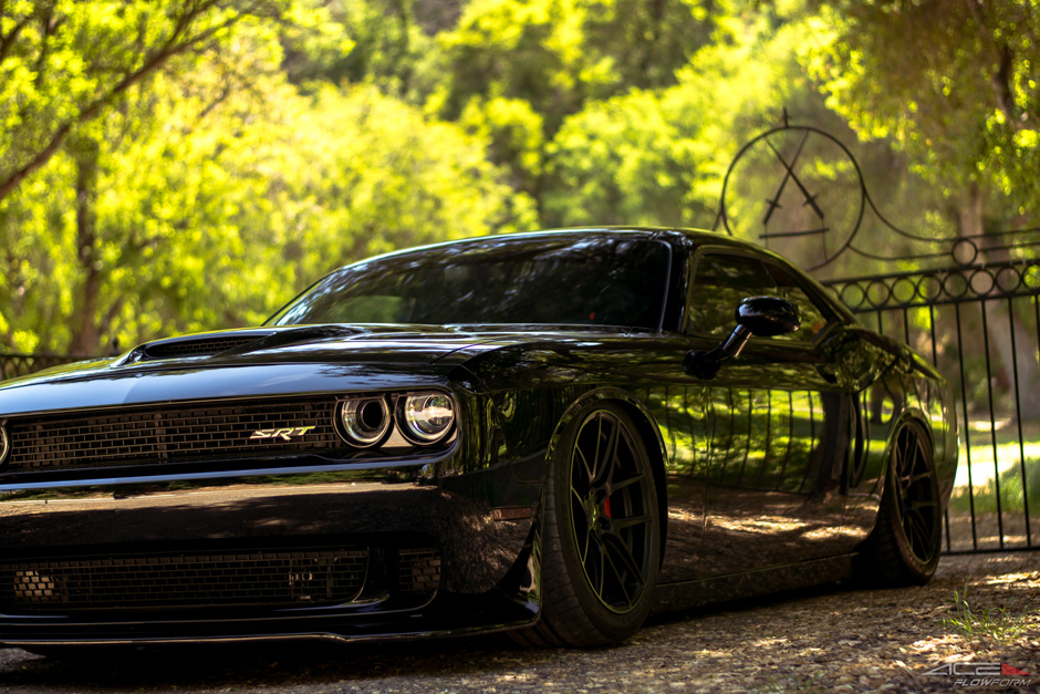 "20"" Custom Aftermarket Wheels ACE Flowform AFF02 Matte Black on bagged 2016 Dodge Challenger Scat Pack"