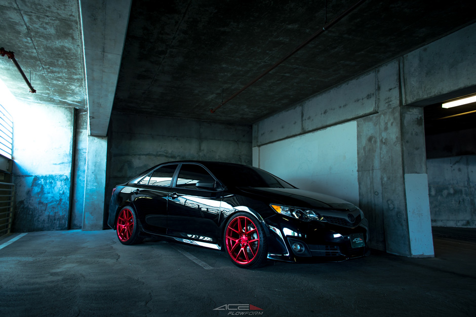 "ACE Flowform Alloy AFF02 Satin Brushed Red 20"" Inch Aftermarket Wheels on Toyota Camry"