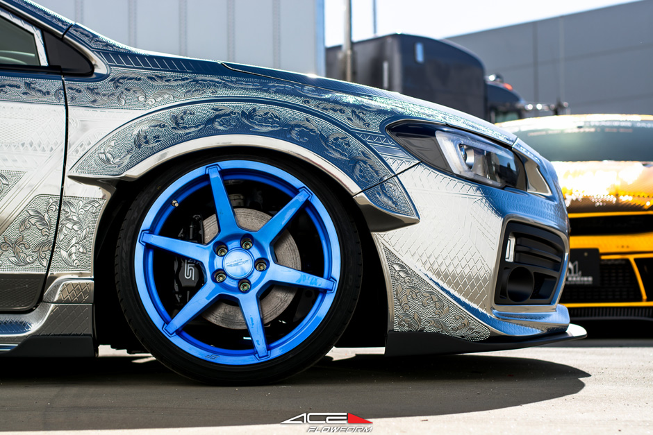 ACE Flowform AFF06 V006 Custom Nebula Brushed Blue Subaru STI Engraved