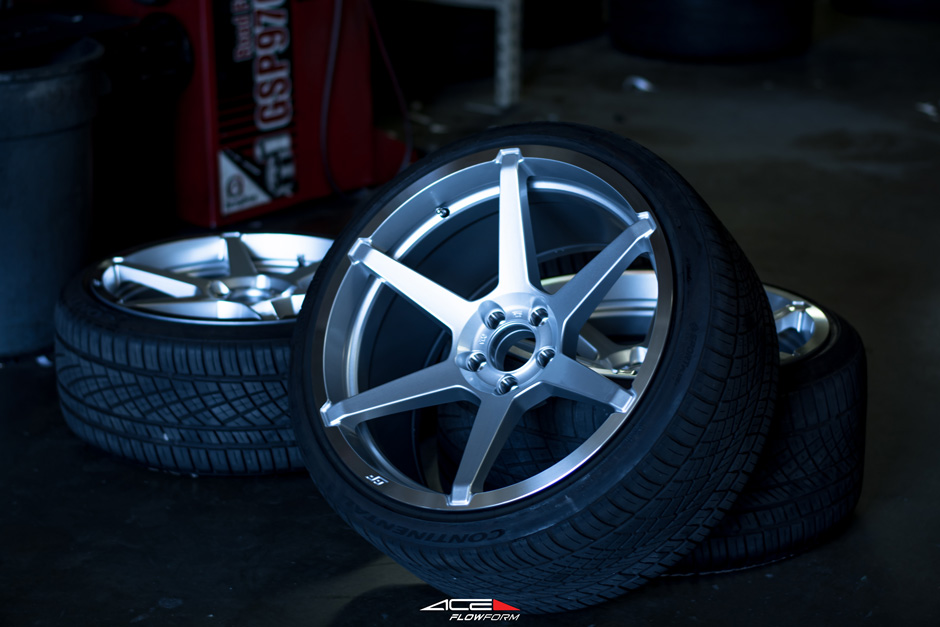 Lowered Nissan 370z with Silver Aftermarket Light weight Ace Alloy Flowform AFF06 Wheels