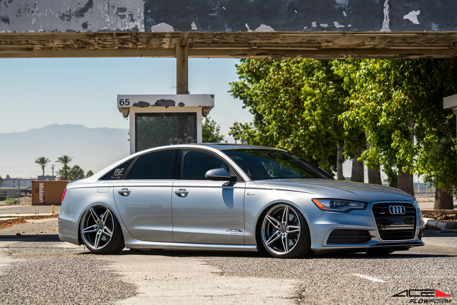 "ACE Flowform 20"" AFF01 V001 Mica Gray Brushed Face Audi A6 Sedan Bagged Aftermarket Wheels"