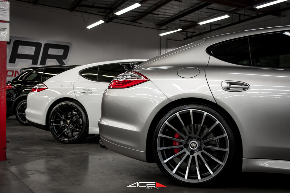 "White Porsche Panamera ACE 22"" Mesh 7 D707 Gloss Black Aftermarket Wheels Silver Car Devotion Mica Gray Machined Face"