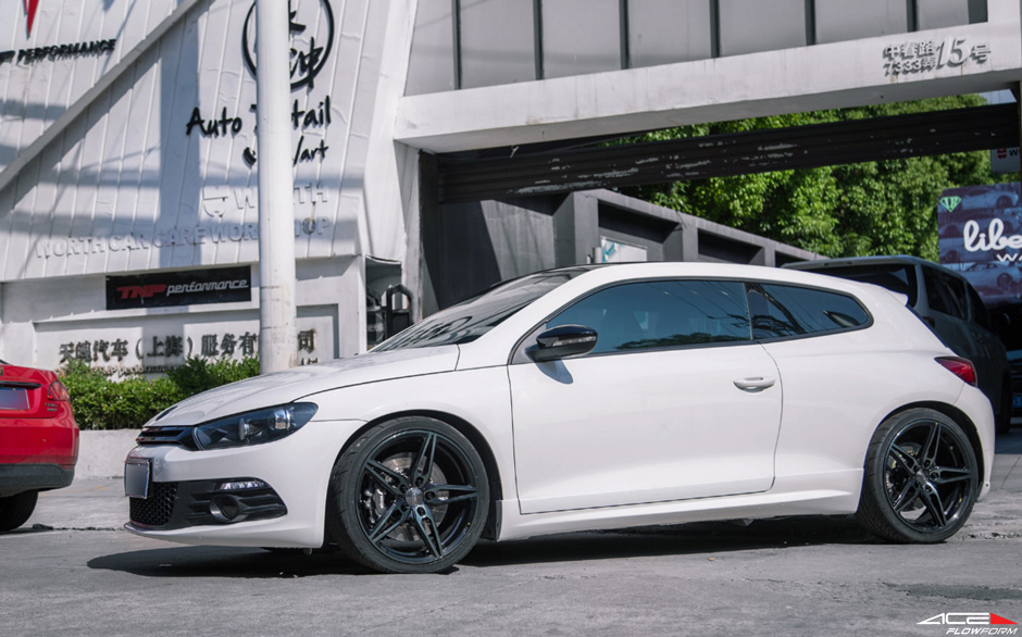 "VW Scirocco ACE Alloy Flowform Gloss Black Brushed Face 19"" Aftermarket Wheels/ Rims"