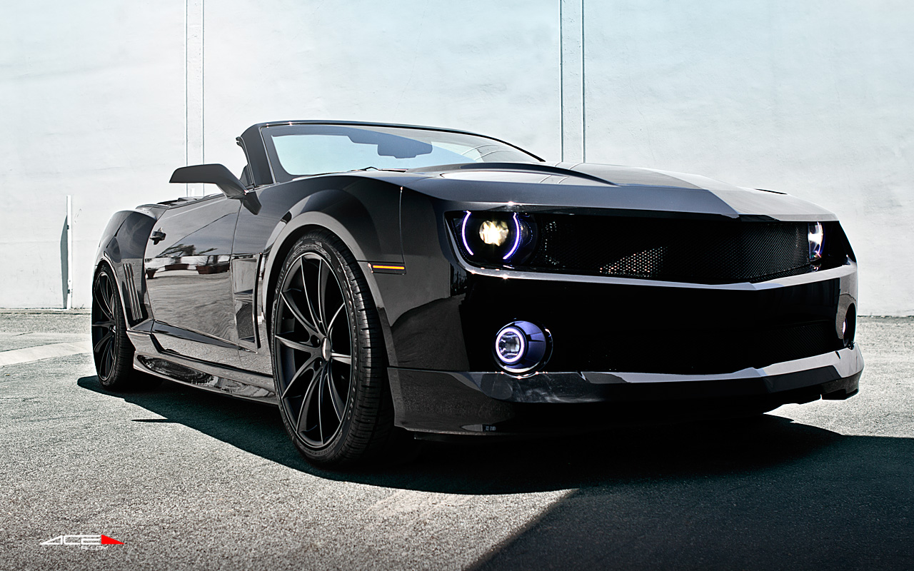 "22"" wheel Matte Black Convex D704 Chevorlet Camaro-SS-Convertible avail. 20x10.0 / 20x10.5 / 22x9.0 / 22x10.5"