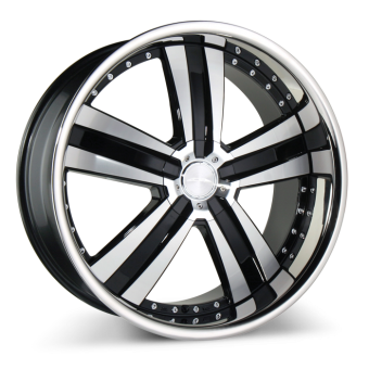 DELUXE C899 Black Machined Face with Stainless Steel Lip wheels & rims