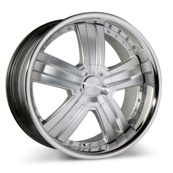 DELUXE C899 Hypersilver Machined Face w/Stainless Steel Lip wheels & rims