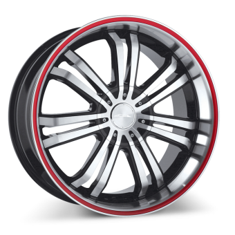 Devine C892 Black Machined Face with Red Stripe wheels & rims