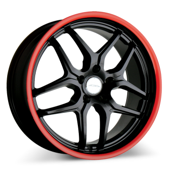 VERTEX D659 Black with Red Lip wheels & rims