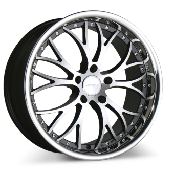 WEBB D682 Black Machined Face w/Stainless Steel Lip wheels & rims
